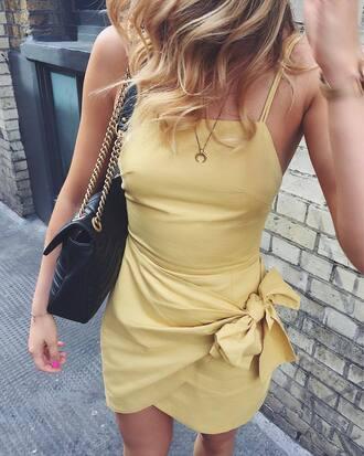 dress tumblr yellow yellow dress mini dress wrap dress bag necklace crescent pendant horn necklace jewels
