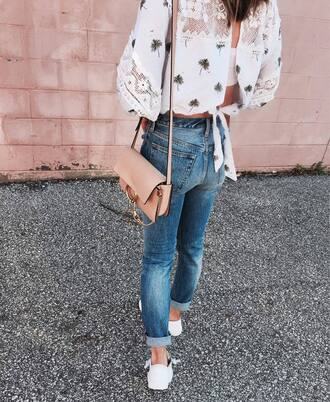 blouse tumblr white lace top lace top open back backless denim jeans blue jeans cuffed jeans bag nude bag sneakers white sneakers spring outfits