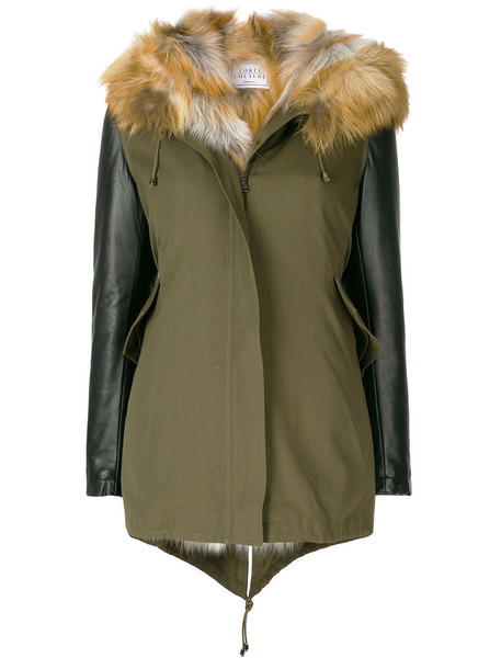 FORTE COUTURE parka fur fox women green coat