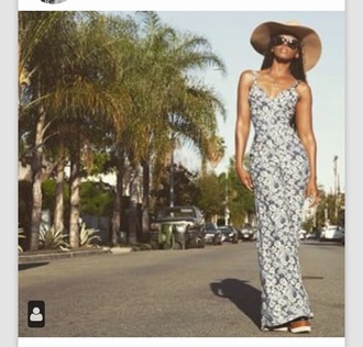 dress hat floral dress platform dress summer spring sunglasses cute instagram floral dawn richard