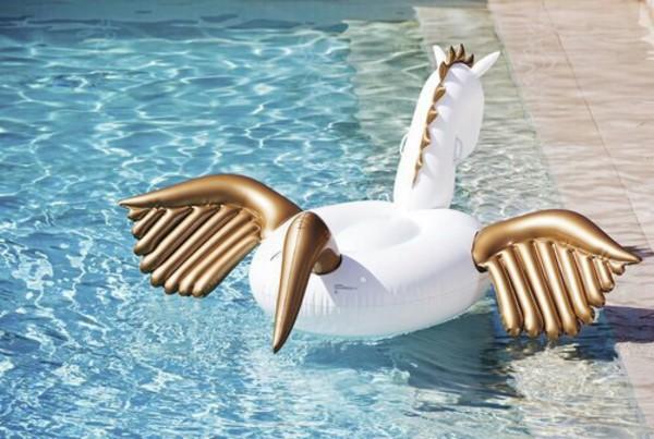 home accessory pool accessory pool party unicorn floaty swimwear horse white gold summer sea mermaid pool