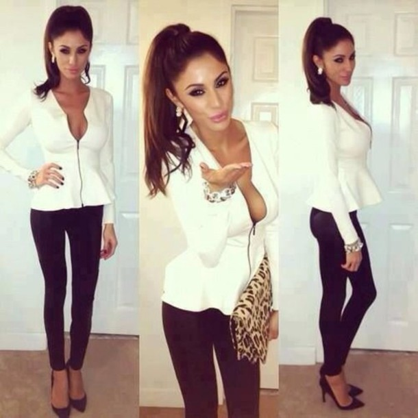 Blouse White Zip Cute Going Out Jacket Sweater T