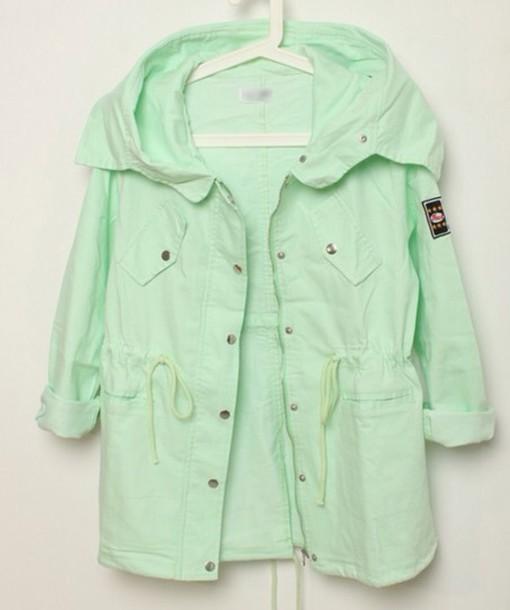 jacket mint mint green pastel pastel green parka