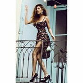 dress,black dress,short dress,sexy dress,beautiful dresses,belen rodriguez,pois dress