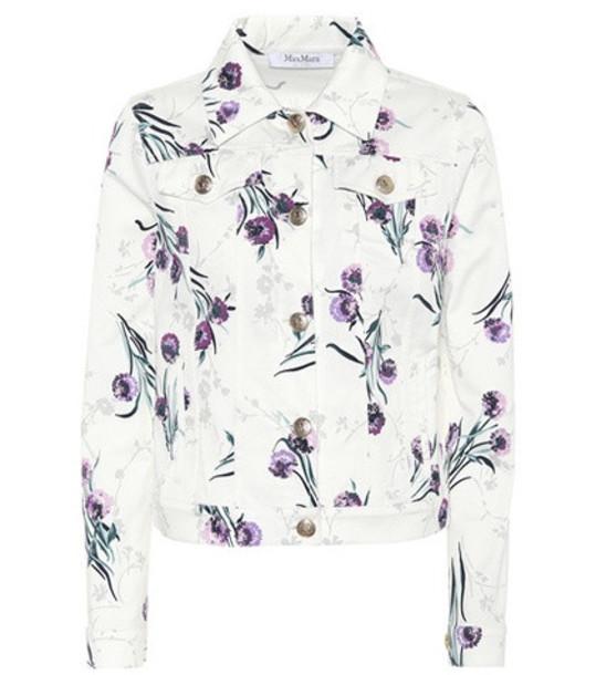 Max Mara Floral-print denim jacket in white
