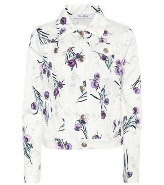 Max Mara Floral-print denim jacket in white