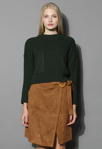 sweater ribbed crop sweater in green chicwish green crop
