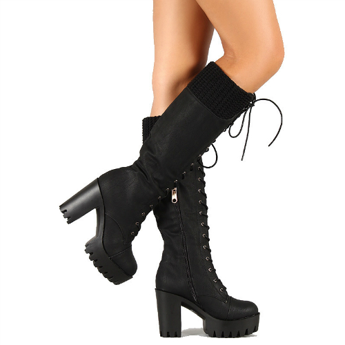 01 black camel lug sole chunky heel lace up knee high boot