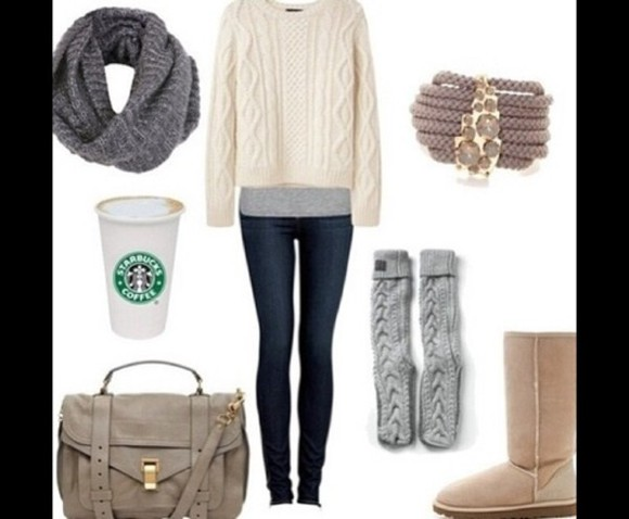 jeans shoes bag sweater knot infinity scarf boots cami scarf