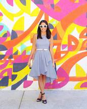 dress,tumblr,blue dress,sleeveless,sleeveless dress,wrap dress,midi dress,sandals,sandal heels,high heel sandals,belt,sunglasses,white sunglasses,bag,shoes