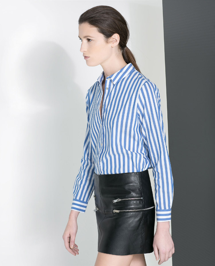 New arrival women 39 s formal work ol blue white stripe turn for Blue and white striped shirt with white collar