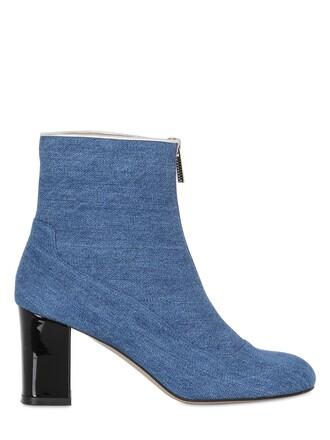denim cropped zip boots blue shoes