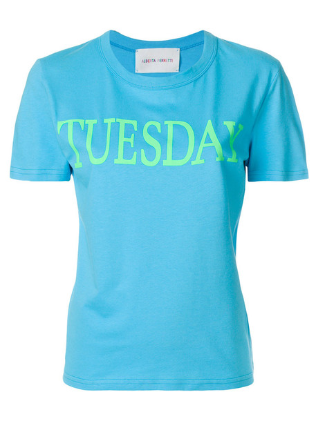 Alberta Ferretti - Tuesday T-shirt - women - Cotton - S, Blue, Cotton