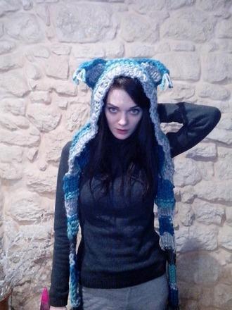 scarf girls handmade tricot tricot scarf blue anime anime scarf winter outfits hood fox capuche fox hat blue fox hat