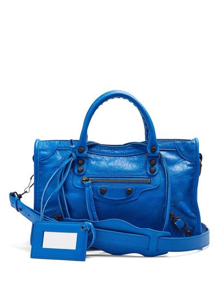Balenciaga metallic classic bag blue