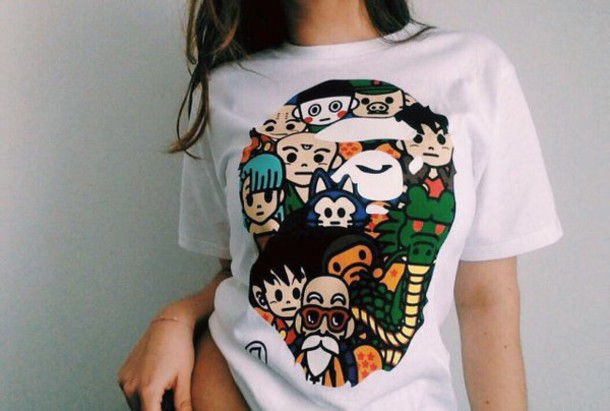 Shirt white t-shirt bape shirt bape clothes bape tumblr tumblr outfit white dragon ball ...