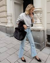 bag,black bag,fluffy,faux fur,jeans,flare jeans,pumps,slingbacks,handbag,sweater