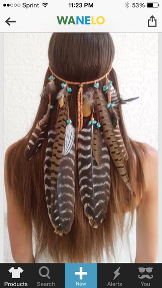 hair accessory boho princess feather headband native american