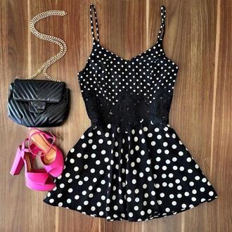 dress polka dots cute graduation dress