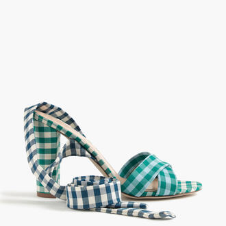 shoes gingham sandals ankle wrap