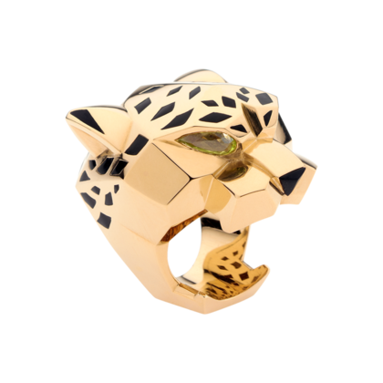 Panthère ring - Yellow gold, peridots, onyx, lacquer - Fine Rings for women -  Cartier
