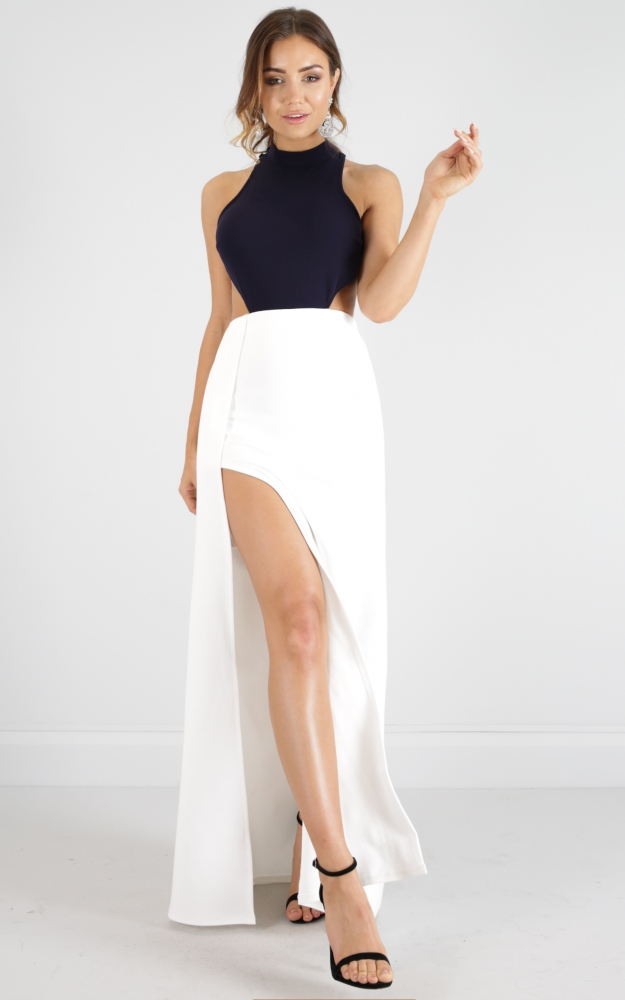 a4b4f90b31dd0 Back Out maxi dress in white and navy Produced By SHOWPO
