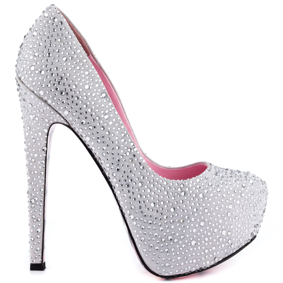 4 Inch Silver Sparkly Heels