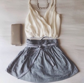 blouse jewels shorts skirt shirt grey aline a-line mini skater skirt skater belt crop tops cream off-white flowy flowing v neck spaghetti strap chiffon halter neck fancy necklace pearl necklace wristlet beige michael kors michael kors bag michael kors clutch bag clutch michael kors wallet wallet halter top
