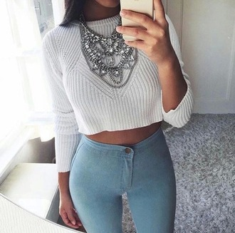 jeans jewels necklace sweater weather winter outfits fall outfits girl girly beautiful nice white sweater light blue jeans statement necklace cropped sweater jewelry statement silver necklace top shirt sweater