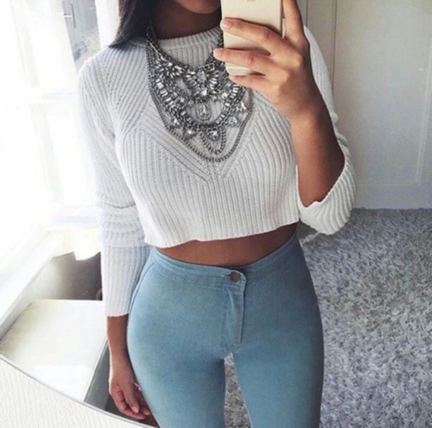 50f31e2fe4f1e6 jeans jewels necklace sweater weather winter outfits fall outfits girl girly  beautiful nice beautiful white sweater