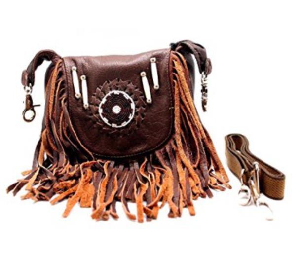 bag fringes brown purse tribal pattern boho chic brown purse leather purse crossbody bag