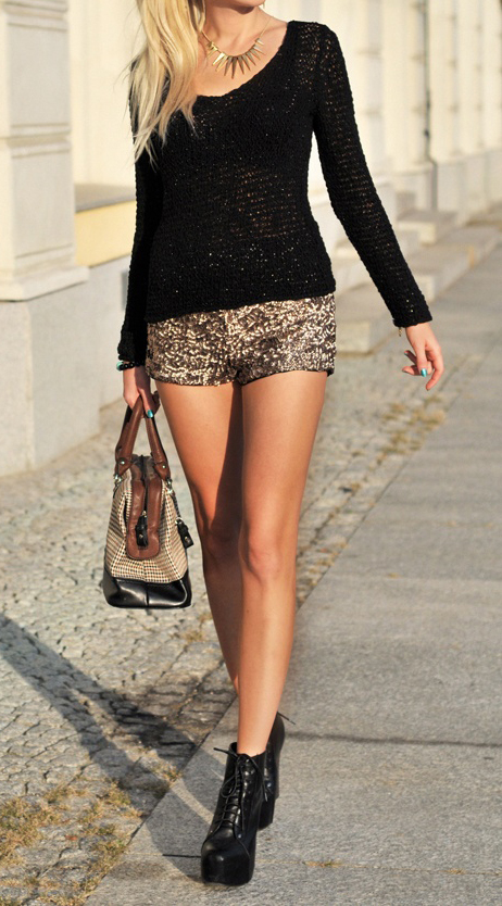Metallic gold hearts bows sequin shorts with overall sequin detail new uk