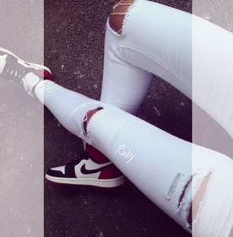 pants jeans light washed ripped jeans white jeans