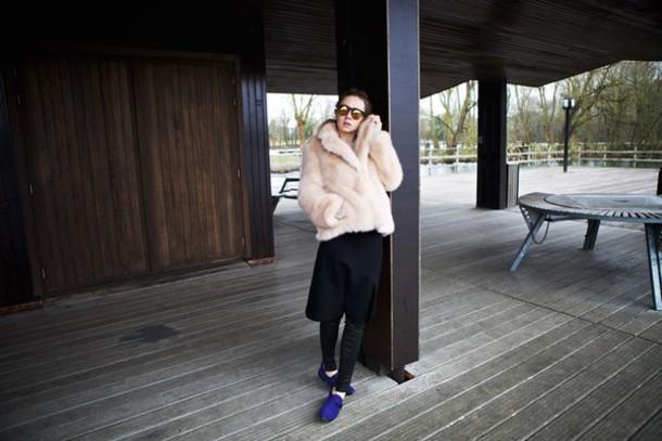 vasilieva blogger coat blue shoes faux fur black skirt black pants
