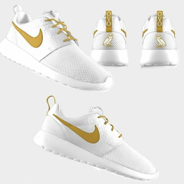 fiouuq Nike White And Gold Roshe | NHS Gateshead
