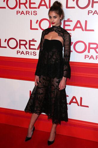 dress midi dress taylor hill fashion week 2016 paris fashion week 2016 bustier dress sexy dress see through dress black dress pumps model off-duty lace dress prom dress gown