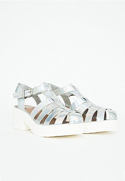 Ludovina Holographic Platform Sandals - Footwear - Sandals - Missguided