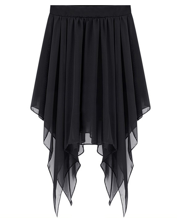 Long Skirt - Black Chiffon Asymmetrical Flowy Skirt | UsTrendy