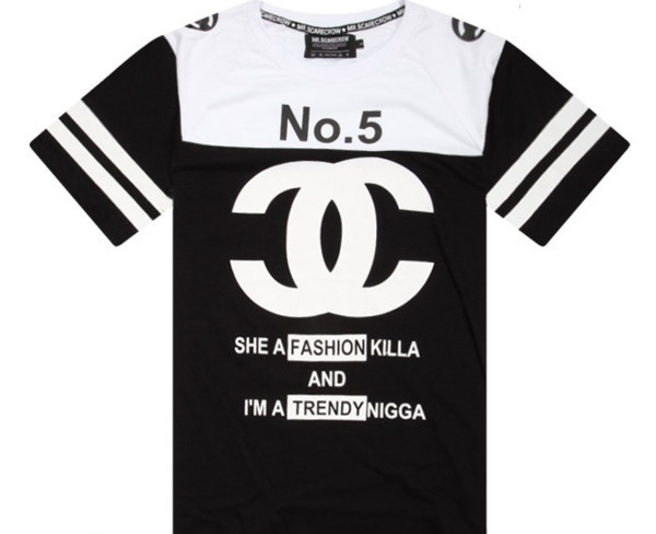 top cc fashion killa no . 5 black white stripes trendy t-shirt
