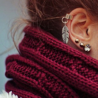 red scarf jewels accessories infinity scarf feathers gold ear cuff ear piercings earrings feather earrings diamonds jewelry accessory knitted scarf scarf red