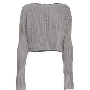 T BY ALEXANDER WANG Cropped Crochet Grey Short knit pullover