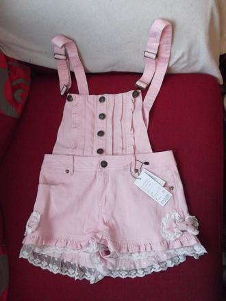 jumpsuit lace shorts lace up lace shorts overalls overall shorts kawaii cute harajuku japan