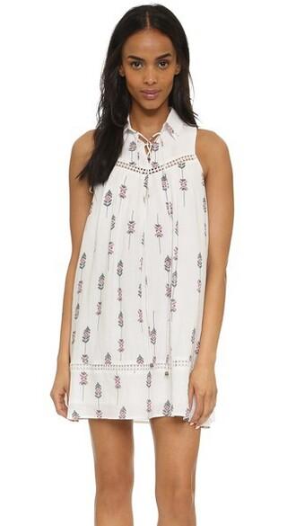 dress printed dress white