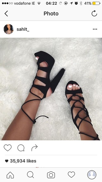shoes heels black lace up heels high heels block heels fashion nova