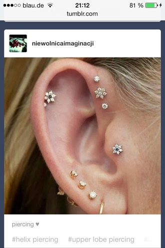 jewels flower piercing ear piercings helix piercing forward helix