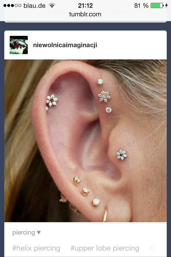 jewels flower piercing ear piercings helix piercing forward helix