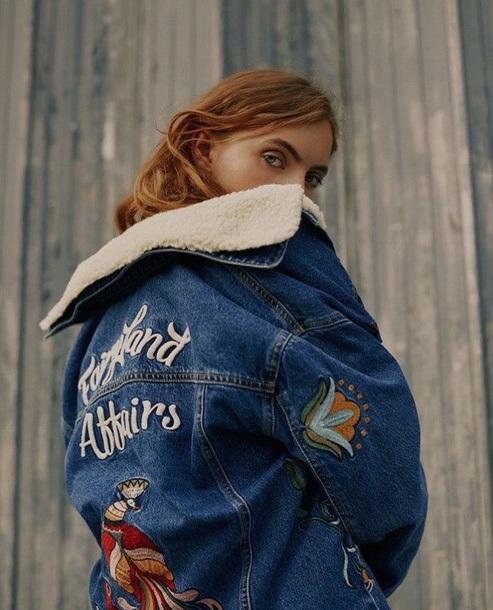 jacket girly blue denim jacket denim fur jacket