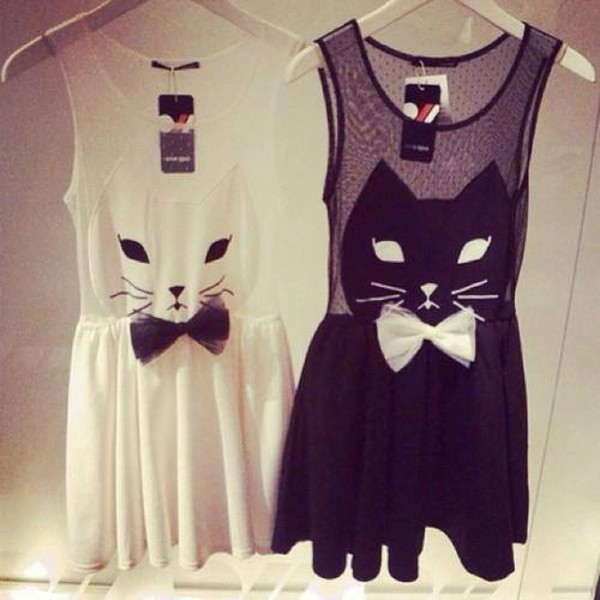 dress dress cute cats cats bow bowtie super cute black dress white dress lovely transparent