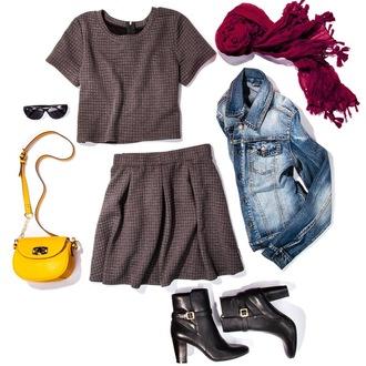 two-piece grey dress waffle knit fall outfits dress
