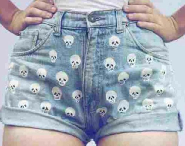 shorts denim shorts skull tumblr shorts